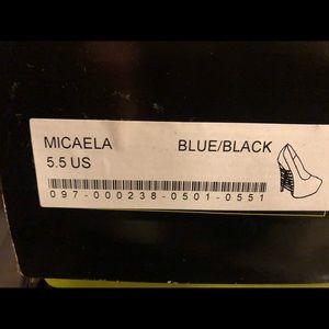 Blue and black heels